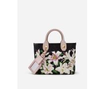 Kleiner Capri Shopper aus Canvas Lilien-Print
