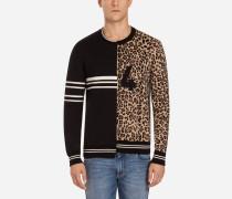 Pullover mit Rundhalsausschnitt aus Zwei Materialien