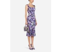 Ärmelloses Longuette-Kleid AUS Charmeuse MIT Anemonen-Print