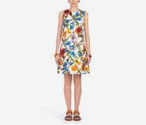 A-Linien-Kleid aus Bedrucktem Brokat