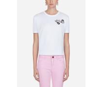 Baumwoll-T-Shirt mit Designer-Patches