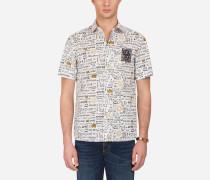 Hemd mit Kurzen Ärmeln aus Bedrucktem Popelin