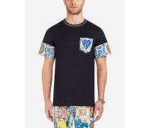 T-Shirt aus Baumwolle mit Kontrastprint