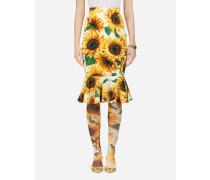 Midirock aus Charmeuse Sonnenblumen-Print