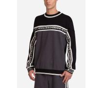 Sweatshirt aus Baumwolle mit Logo-Streifen
