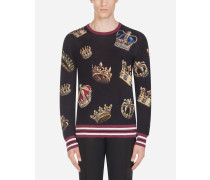 Pullover mit Rundhalsausschnitt aus Bedruckter Seide