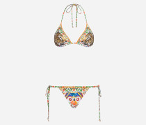 Bedruckter Bikini mit Triangeloberteil