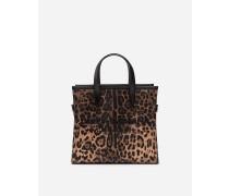 Kleine Shopping-Schultertasche Market BAG mit Krepp-Leoparden-Print mit Gummiertem Logo