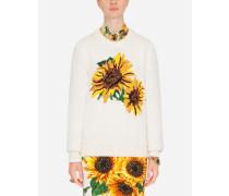 Wollpullover mit Sonnenblumen-Intarsien