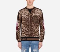 Sweatshirt mit Rundhalsausschnitt aus Jersey mit Leoparden-Print