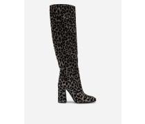Stiefel aus Changierendem Stoff mit Leoparden-Muster