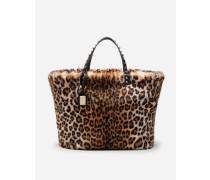 Shoppertasche Beatrice aus Webpelz mit Leopardenmuster