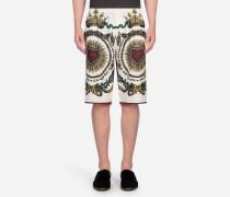 Bermuda-Shorts aus Bedrucktem Seidentwill