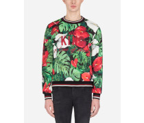 Sweatshirt aus Baumwolle Anthurium-Print mit Patch