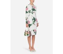 Midi-Kleid AUS Cady MIT Tropischem Rosendruck