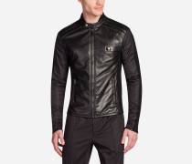 Jacke aus Nylon und Leder