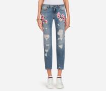 Jeans Pretty Fit mit Stickerei