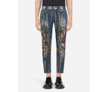 Stretch Skinny Jeans MIT Napoleon-Print
