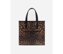 Mittelgroße Shopper-Schultertasche Market im Krepp-Leoparden-Print mit Gummiertem Logo