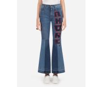 Stretch Jeans in Denim mit Patch