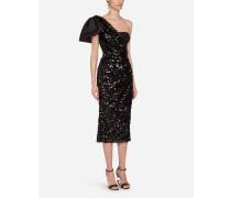 Longuette-Kleid MIT Pailletten UND Schleife