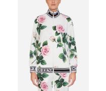 Sweatshirt MIT Reissverschluss AUS Cady MIT Tropischem Rosendruck