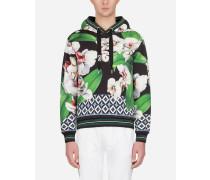 Kapuzen-Sweatshirt aus Baumwolle Orchideen-Print
