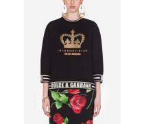 Kurzes Sweatshirt mit Print I'M THE Queen OF MY Life