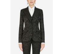 Single-Breasted Floral Jacquard Blazer