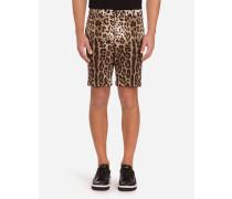 Bermuda-Shorts aus Baumwolldrillich mit Leoparden-Print