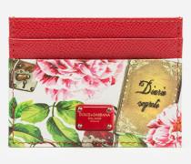 Kreditkartenetui aus Bedrucktem Dauphine-Kalbsleder