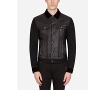 Jacke aus Leder und Stretch-Denim