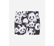 Kurze Boxerhorts mit Panda-Print und Pochette