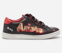 Sneaker aus Leder mit Stickerei