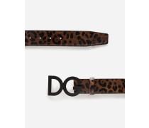 Gürtel aus Kalbsleder mit Leoparden-Print und Logo-Schnalle