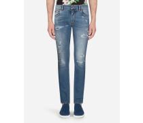 Skinny Stretch Jeans Hellblau mit Flicken