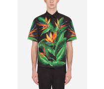 Hemd Hawaii aus Baumwolle Strelizien-Print