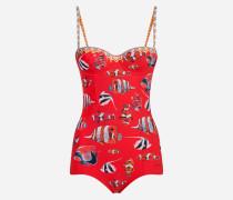 Bedruckter Badeanzug mit Balconette-Form