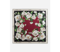 Halstuch aus Twill mit Weißem Rosen-Print