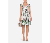 Midi-Kleid AUS Popeline MIT Tropischem Rosendruck