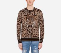 Pullover aus Wolljacquard mit Print
