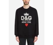 Sweatshirt aus Baumwolle mit D&g-Print und Kristallen