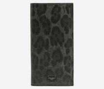 Vertikales Portemonnaie mit Krepp-Leoparden-Print