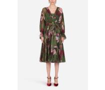 Longuette-Kleid aus Chiffon Barockrosen-Print