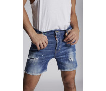 Acid Green Spots Squared Crotch Shorts