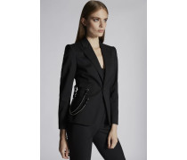 Chic Stretch Wool Double Chain Rodeo Blazer
