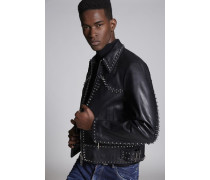 Leather Bomber With Stud Details