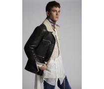 Multizip Shearling-Lined Leather Bomber Jacket