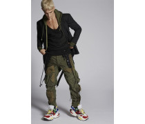 Over-Dyed Mixed Fabric Multi-Pockets Combat Cargo Pants