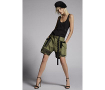 Cotton Twill Military lace Baggy Shorts